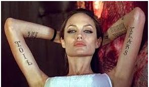 Tatouages de la célèbre actrice et maman Angelina Jolie