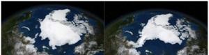 Images satellites de la banquise arctique en septembre 2005 puis en septembre 2007